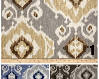 PAIR of window curtains window panels window drapes ikat curtains window treatments beige curtains