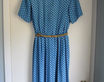 Blue Patterned Dress size 14WP | Printed Day Dress size 14 W Petite | Plus Size Short Sleeve Knee Length | 1960s 1970s Clothing XL 4th July