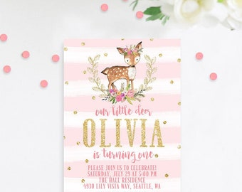 Deer First Birthday Invitation, Pink and Gold First Birthday Invitation, Deer Birthday Invitation, Woodland Birthday, Baby Girl