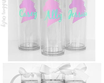 4 Custom skinny tumblers, personalized cups, party cups, wedding cup, wedding favors,  party favors, Unicorn cup, unicorn gift