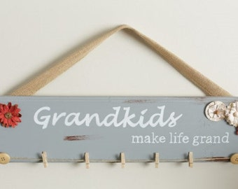 Grandma Gift - Grandkids Make Life Grand Sign - Grandkids Sign - Grandparent Gift- Mother Gift - Gift for mom - Gift from Grandkids - Sign