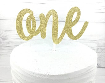 One Gold Cake Topper, 1 Gold Cake Topper, Age Cake Topper, Gold Cake Topper, Glitter Cake Topper, 1st Birthday, Pink and Gold OneGoldCake