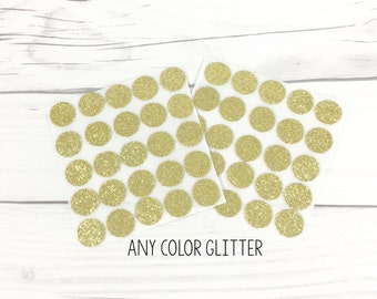 Glitter Circle Stickers, Gold Glitter Stickers, Silver Glitter Stickers, Colored Stickers, Personalized Stickers