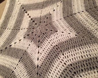 Grey & white crochet star 30 inch MADE TO ORDER