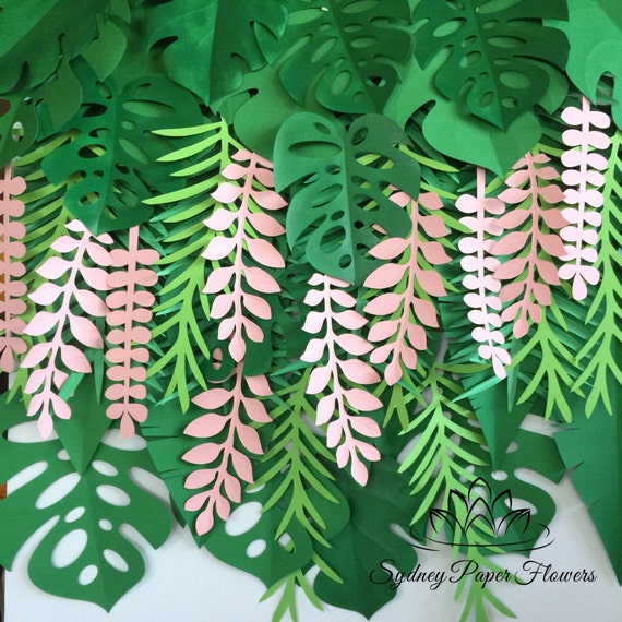 Leaves Decoration: Tropical Leaves Backdrop / Jungle Party Backdrop / Tropical