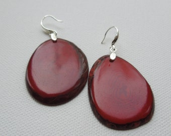 Tagua Nut Deep Red and sterling silver Drop Earrings