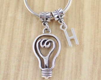 Bright Idea Light Bulb Keychain-Initial Keychain w. Light Bulb-You Light Up My Life Light Bulb Key Ring-Light Bulb Gift-Unique Keychains