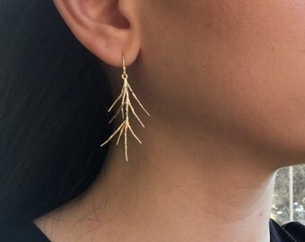 Branch Out Earrings - Matte Gold 3D Plated Branch Twig Earrings