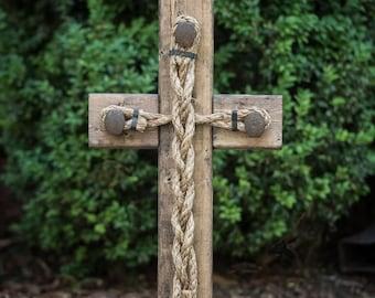 Wedding Braid Cross - Cord of Three Strands, God's Knot, Unity Knot, Unity Cord, Braid for Unity Ceremony, Wood Wedding Sign