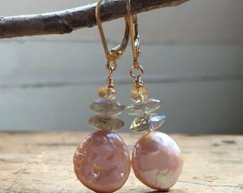 Pearl labradorite earrings,11mm coin  pea drop earrings, pink coin Pearl earrings.