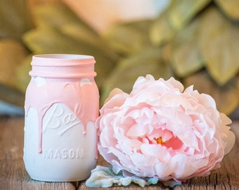 Pink and White Drip Centerpiece Kylie Jenner Wedding Decor Party Mason Jar Rustic Farmhouse Decor Painted