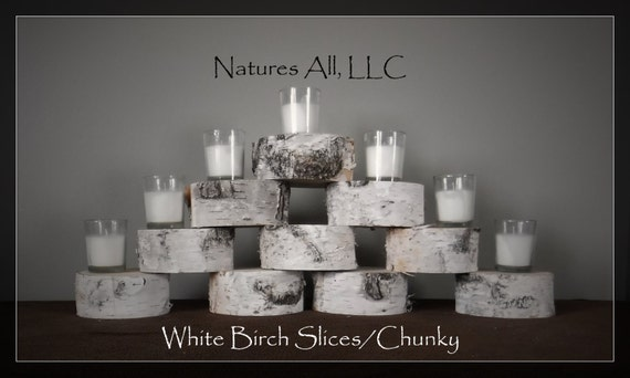 "White Birch Slices/Chunky-Thick Cut/White Birch Disks/2"" thickness/4""-5"" Diameters/10 Piece Set/Rustic Wedding Decor/ Item# WBS-1100"