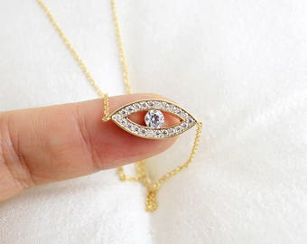 Evil Eye Necklace, Gold and  Zirconia Stone Evil Eye Necklace, Gold Eye Necklace, Dainty Necklace, Birthday Gift,7024