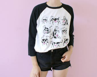 Screen Printed COW Raglan/Baseball Shirt! Two Color Screen Print!