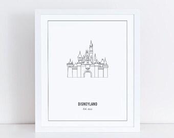 Disneyland Castle Print Outline | Anaheim, California | Sleeping Beauty's Castle | Disney decor | Printable | Instant Download | 8x10 JPG