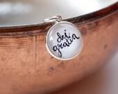 By The Grace of God Charm, Catholic Latin Jewelry, Catholic Gifts for Girls