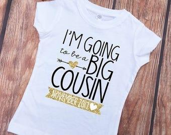 I'm going to be a BIG COUSIN Shirt - Shirt and Knot Gold Foil Headband - New Big Cousin Shirt - Announcement Shirts - Big Cousin to Be Shirt