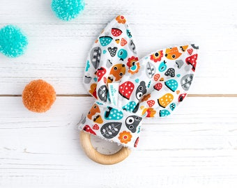 Natural Wood Teething Ring - Organic -  Bunny Ears Teether - Little Forest- Multicolour - Gender Neutral Gift - Wooden Toy - Bamboo Teether