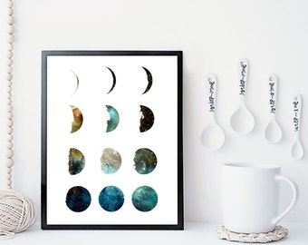 Galaxy moon phase print, wall art, poster, moon art print, moon phases, home wall decor, modern print, nebula print, moon poster, gift