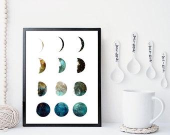 Galaxy moon phase print, wall art, poster, moon art print, moon phases, home wall decor, modern print, nebula print, moon poster, gift