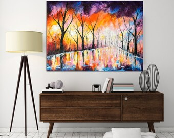 Oil Painting, Landscape Painting, Abstract art, Palette knife art, Forest painting, Office decor, Home decor, Tree Painting, Nikki Chauhan