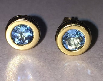 Gold and Blue Topaz Stud Earring