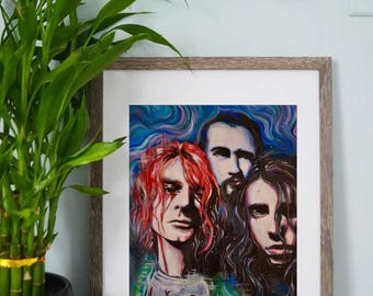 Nirvana - Kurt Cobain - Dave Grohl - Krist Novoselic - Grunge - Psychedelic, Colorful Artwork - Art Prints - Wall Art - Posters - Home Decor