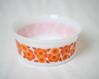 Arcopal dish, vintage flower dish, arcopal bowl lotus flowers, flower bowl
