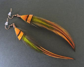 Boucles d'oreilles plumes de coq et de faisan / Rooster and pheasant feathers earrings / Orange and green earrings