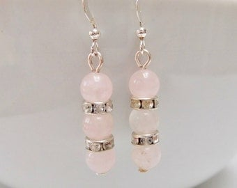Gemstone Earrings, Rose Quartz Drop Earrings, Pink Earrings, Gemstone Jewelry, Gemstone Beaded Earrings, Gift For Her