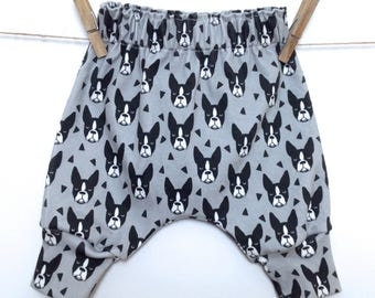 Harem pants, boston terrier, dog, baby clothes, hipster baby clothes, organic, baby clothing, baby boy, baby girl, cotton jersey, trousers