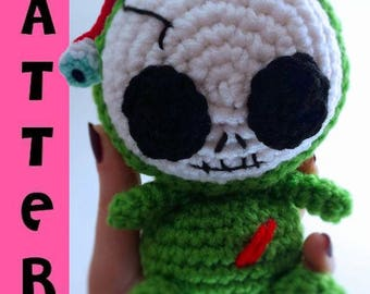 Zombie Amigurumi - Skeleton Plush Doll - Kawaii Monster Skull - Stuffed Toy - Crochet Pattern - Digital Download PDF
