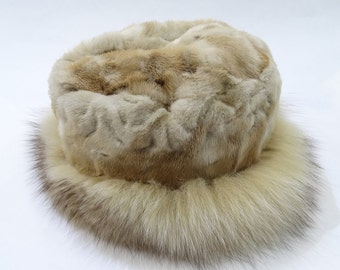 Real Fox and Mink Fur Hat,Winter hat, Fashion Hats,real fur hat,fox hat,fur hat, warm hat, fluffy hat, furry hat, girls hat F519