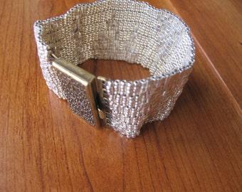 Silver/Perm Metallic Peyote Bracelet