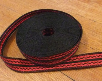 Red and Black Woven Trim, 4 3/4 Yards Long