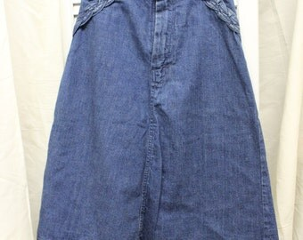 VTG 1970's A-Line Denim Skirt by Rubmle Seats Size Small  Knee Length/Braided Accent/Blue Jean/100% Cotton/Casual/Hippie/Farm Girl/Western
