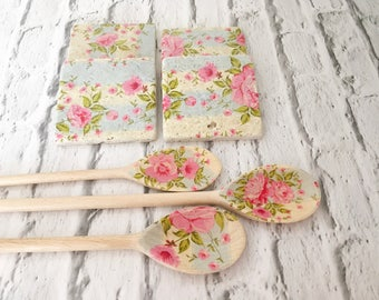 Coasters and wooden spoons set - cottage chic - shabby vintage floral - stone tiles - slate wood