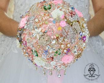 Brooch Bouquet, Wedding Dress, Gold Bouquet, Wedding Bouquet, Bridal Bouquet, Broach Bouquet, Bride Bouquet, Pink bouquet, Jewelry Bouquet