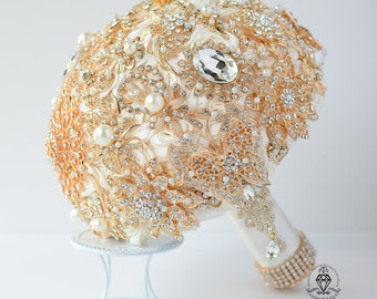 Gold Brooch Bouquet, Gold Bouquet, Gold bridal bouquet, Broach Bouquet, Crystal Bouquet, Gold wedding bouquet, White gold brooch bouquet