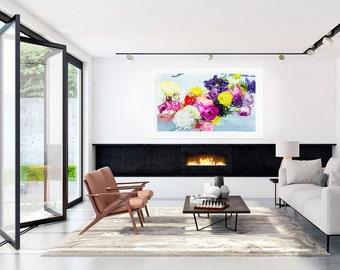 Large Art Print, FRAMED Large Flower Print, Oversized Art Print, Blue, Pink, Yellow, Modern Art by Jessica Kenyon