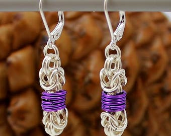 Silver Plated Chainmaille Earrings, Purple Earrings, Silver Earrings, Byzantine Earrings, Chainmail Earrings, Chain Mail Earrings