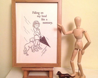 Here Comes The Rain Again. Art Print of Vintage Book Illustration with Eurythmics Lyrics. Perfect Christmas Gift for 80s Music Fan.