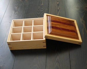 Rustic Wooden Tea Box With Partitions // Jewelry Box