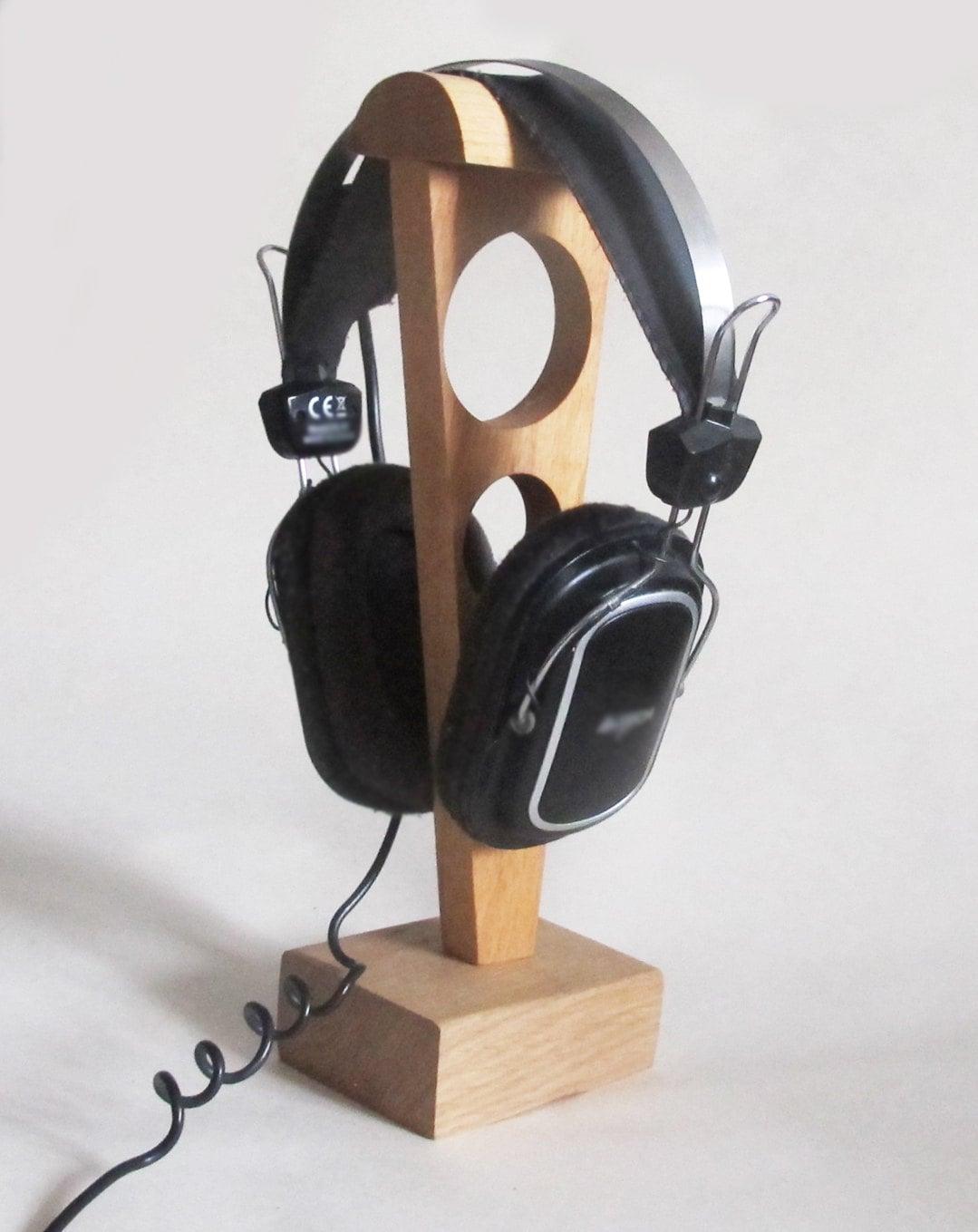 Wood headphone stand wooden headphone holder rustic wooden - Wooden headphone holder ...