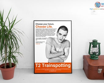 T2 Trainspotting 2 Movie Poster - High Quality Minimalist Film Print for Framing