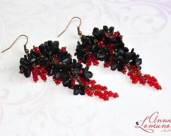 Black red earrings Black floral earrings Black Long earrings Black red Jewelry Earrings Polymer clay Black Dangle Earrings Floral earrings