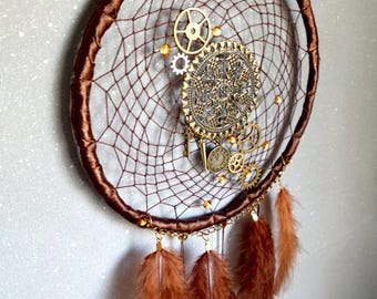 Steampunk Gears, Clock face, Key charm & Golden Spike Dream Catcher
