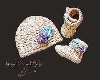 Crochet Booties Pattern and Crochet Hat Pattern, Crochet Baby Hat Pattern and Baby Booties Pattern, Crochet Pattern for New Baby Girl
