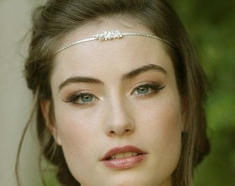 Bridal Head Chain Boho Bridal Headband Bridal Headpiece Boho Head Piece Bridal Forehead Band Wedding Hair Accessory Bridal Hairband