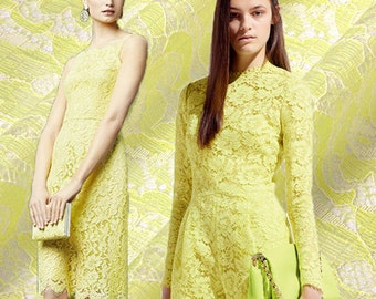 Yellow Lace Fabric By The Yard Double Layer Floral Lace Fabric Jacquard Flower Lace Evening Dress Fabric Women Clothing Fabric-CHAHUA